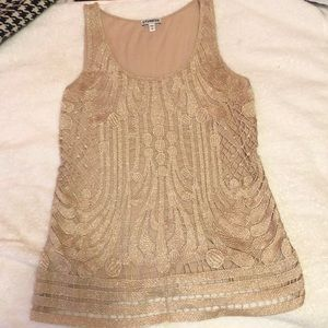 Gold lace tank top